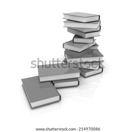 real books on a white background