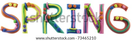 Real cheerful plastic plasticine alphabet- S, P, R, I, N, G  letters, SPRING word. Isolated on white - stock photo