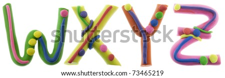 Real cheerful plastic plasticine alphabet- W, X, Y, Z letters. Isolated on white