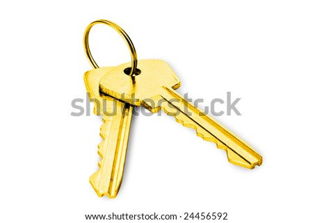 real concept concepts. two gold keys isolated on white