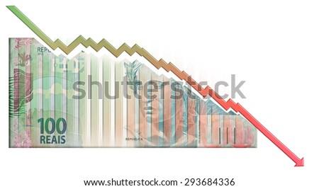 Real declining Graph bill - stock photo