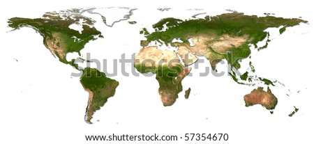 Real detail world map of continents - stock photo