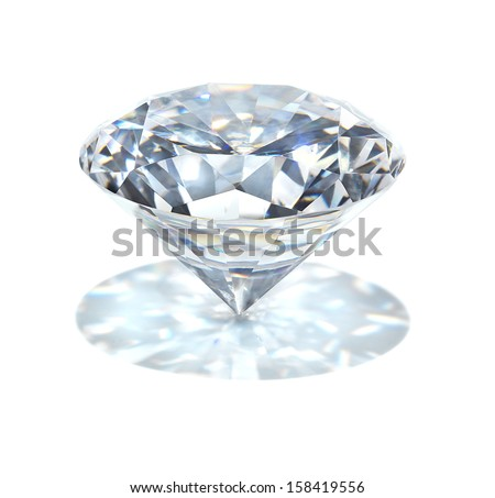 real diamond on white background with his own projection - stock photo