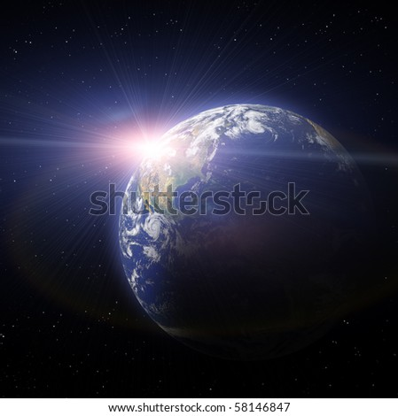 Real Earth Planet in deep space. Sunset. Map for Earth 3d reconstruction is used from NASA site - stock photo