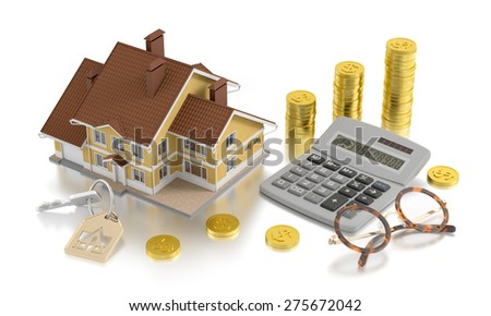 Real Estate Accounting. Retro style composition on the subject of real estate. 3D rendered image. - stock photo