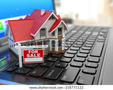 Real estate agency online. House on laptop keyboard. 3d - stock photo
