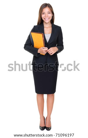 Real estate agent businesswoman on white background. Asian business woman standing in full body. - stock photo