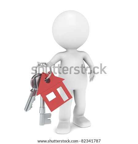 Real Estate Agent. 3D little human character holding a pair of House Keys. Red - stock photo