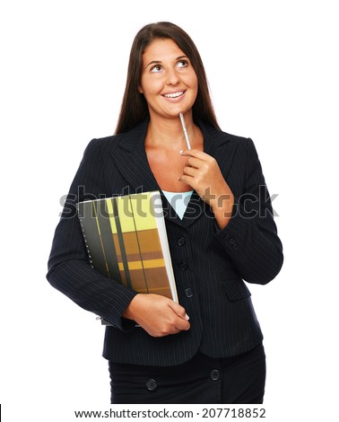 Real estate agent in black suit is thinking, making decisions.   Isolated on a white background.   - stock photo