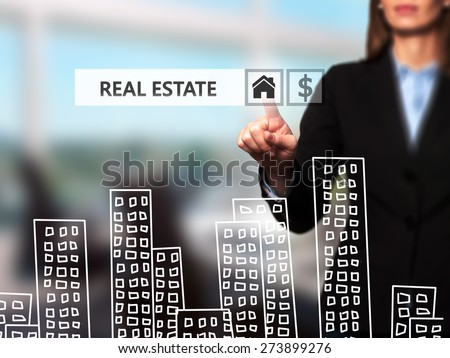 Real estate agent pressing button on virtual screen. Women finger on home icon. Business technology concept. Isolated on office. Stock Image - stock photo