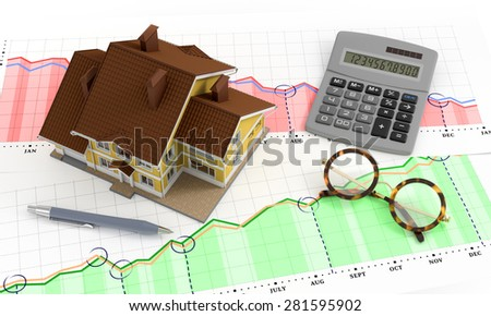 Real Estate Analytics. Composition on the subject of 'Real Estate Market'. 3D rendered image. - stock photo