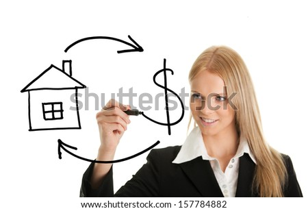Real Estate and Cash concept on white screen - stock photo