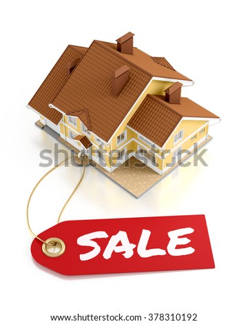 Real Estate Auction. Composition on the subject of Real Estate Trading. 3D rendered graphics on white background. - stock photo