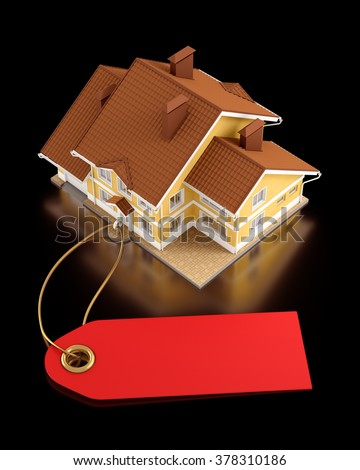 Real Estate Auction. Graphic template on the subject of Real Estate Trading. 3D rendered graphics on black background. - stock photo