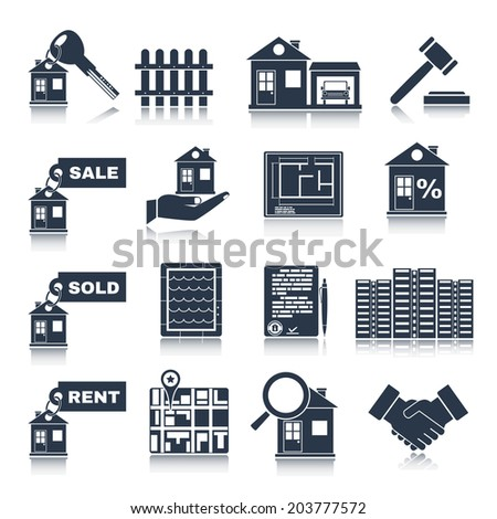 Real estate black icons set of house apartment and commercial property isolated  illustration - stock photo