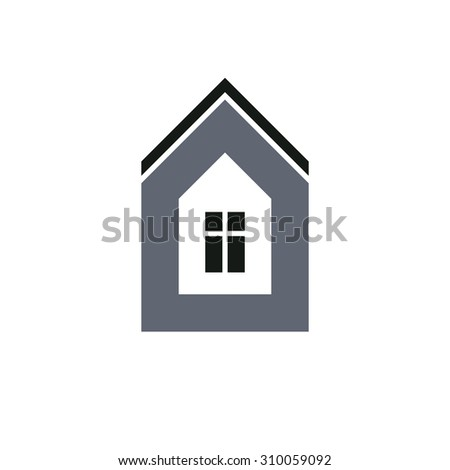 Real estate business icon isolated on white background, abstract house depiction. Conceptual sign best for use in advertising.