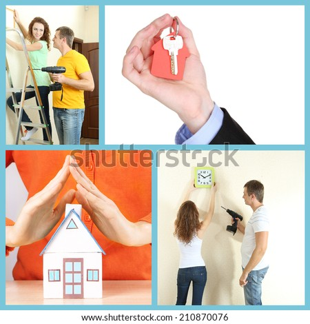 Real estate collage: moving to new house - stock photo
