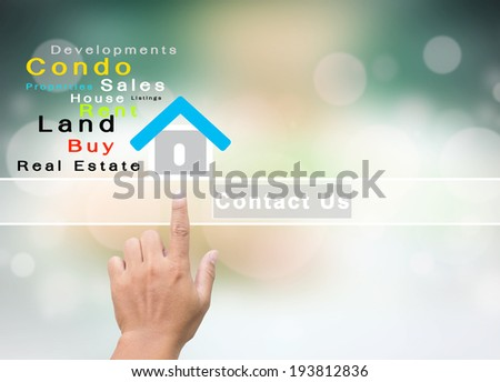 Real Estate Company With Contact Us Concept - stock photo