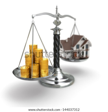 Real estate concept. House and money on scale. 3 - stock photo