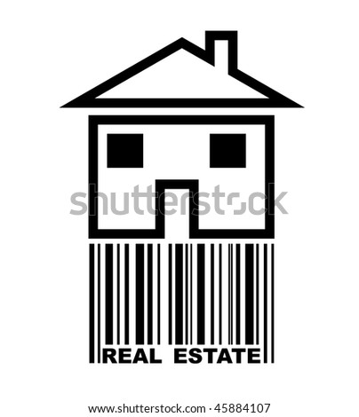 real estate concept or logo with bar code - stock photo