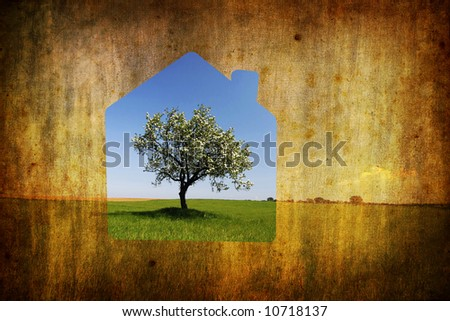 real estate concept with house composition - stock photo