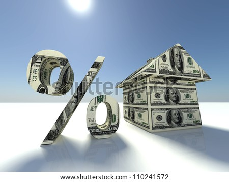 real estate concept with mini house, Us dollars and dollar sign - stock photo