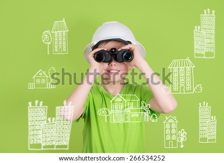 Real estate construction engineering concept. Cute boy with binoculars on green background looking for future home. - stock photo