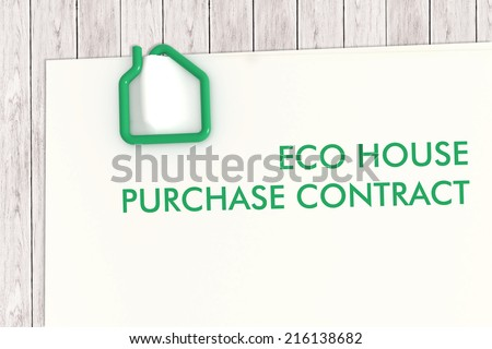 Real estate contract document template with green paper clip on white wood desk - illustration clipping path - stock photo