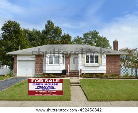 Real estate for sale open house (another success let us help you buy sell your  next home) welcome sign for Suburban Ranch Brownstone with Bay Window in a  residential neighborhood USA