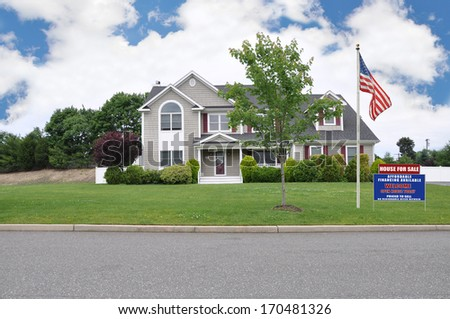 Real Estate For Sale Open House Sign Large Suburban McMansion Home Residential Neighborhood  USA Blue Sky Clouds - stock photo