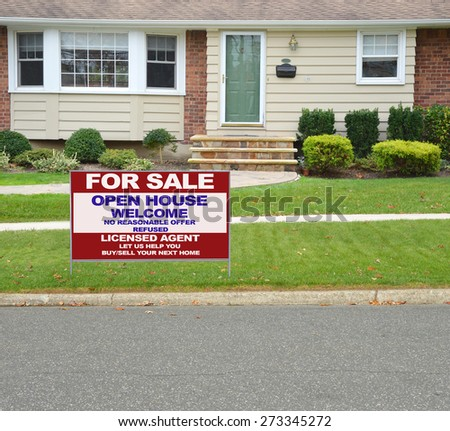 Real estate for sale open house welcome sign tight shot of suburban ranch style home tan brownstone front yard residential neighborhood USA - stock photo