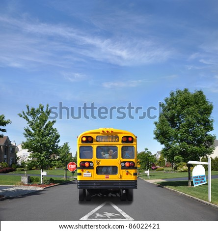 Real Estate For Sale Sign on Lawn and Children Crossing Traffic Sign on Suburban Residential Neighborhood Street with School Bus and Child Inside on Sunny Blue Sky Day - stock photo