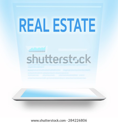 real estate headline on blue screen