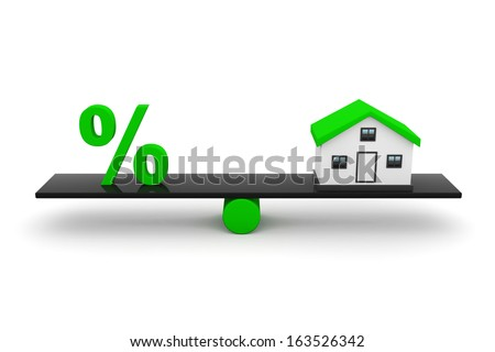 Real Estate, Home With Percentage Sign.  - stock photo
