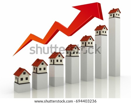Real estate house graph chart illustration design over white background .Property Valuation concept, High angle view of house models