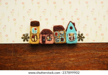 real estate, houses and snowflakes - stock photo