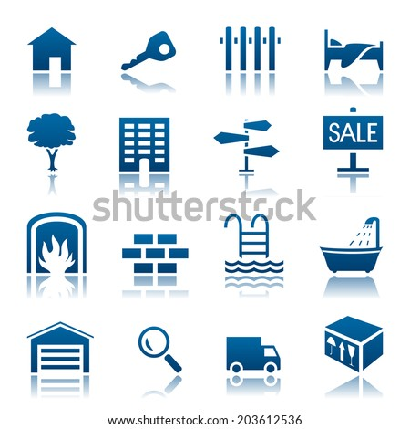 Real estate icon set - stock photo