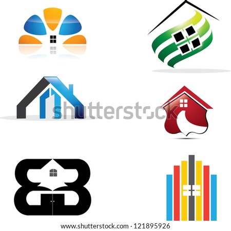 real estate icons - stock photo
