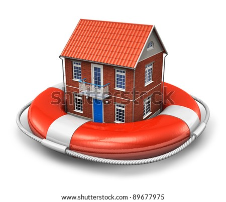 Real estate insurance concept: residential house in red lifesaver belt isolated on white background - stock photo