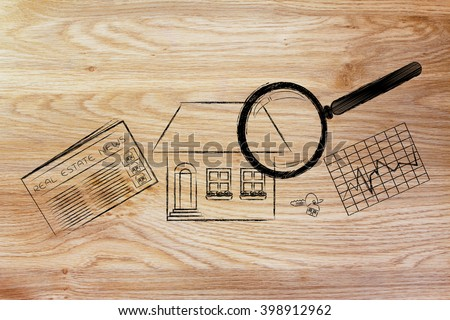 real estate investments and house hunting: magnifying glass analyzing a house, with sector newspaper, stats and keys - stock photo