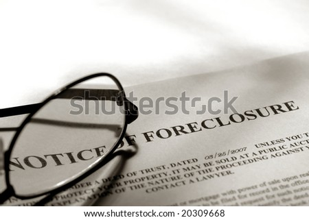 Real estate lender home foreclosure notice with glasses (fictitious document with authentic legal language)