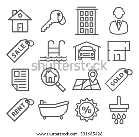 Real Estate Line Icons - stock photo