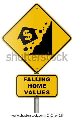 Real estate market collapse road sign. - stock photo