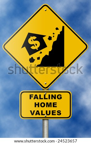 Real estate market collapse road sign on blue sky. - stock photo