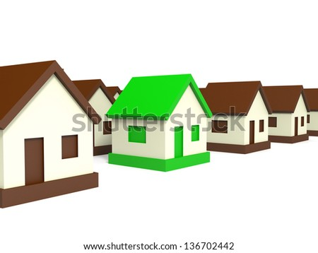 Real estate market. Toy house. Right choice. 3D illustration.