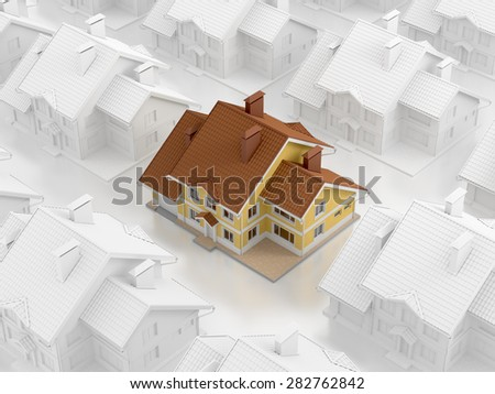 Real Estate Matrix. Composition on the subject of 'Real Estate Market'. 3D rendered image. - stock photo