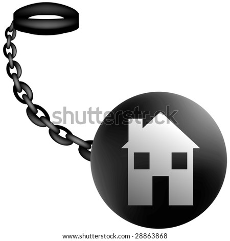 Real Estate on Ball and Chain - stock photo