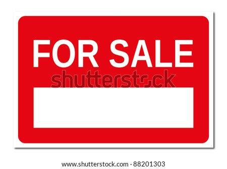 Real estate red and white for sale signboard - stock photo