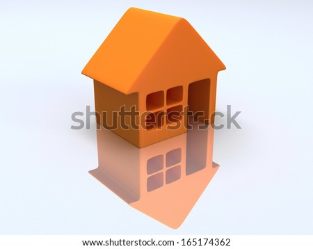 Real estate, rent, building, home concept. Orange house with reflection. 3d render icon.