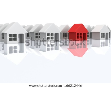 Real estate, rent, building, out of crowd home concept. White blank houses and red one with reflection. 3d render icon.